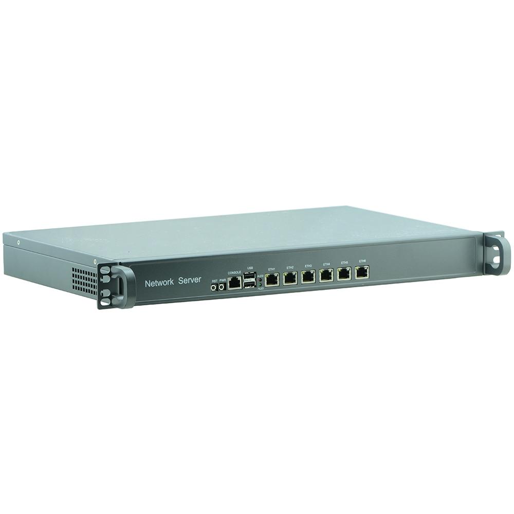 1U Rack Firewall Router Network Server 6 Intel WGI211AT  J1900 1.8G Support ROS Mikrotik PFSense 6*1000M LAN