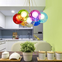 Creative dining room children's room chandelier colorful glass bubble ball chandelier warm personality bedroom lighting