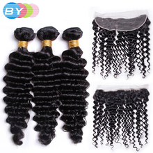 BY Pre-Colored 3 Bundles Deep Wave With 13×4 Lace Frontal  Human Hair Weave Natural Color Brazilian Non-remy Hair With Frontal