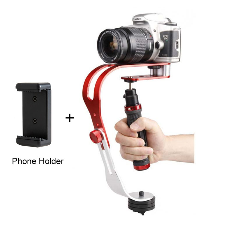 Alloy Aluminum Mini Handheld Digital Camera Stabilizer Video Steadicam Mobile DSLR 5DII Motion DV Steadycam + Smartphone Clamp selens pro handheld support steadycam steadicam camera video handy stabilizer with carrying bag