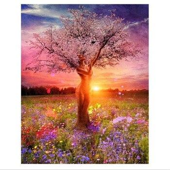 Новейший Beauty Tree женский набор для рисования по номерам масляной краски для рисования по номерам Настенная картина для домашнего декора Акр...
