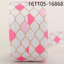 Новые продажи 50 ярдов розовые алмазные печатные банты из корсажной ленты и ленты