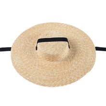 NEW-Women Sun Hat French Style Wide Brim Straw Casual Natural Wheat Lace-Up Beach Shade