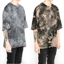 high quality fashion men clothes 2017 urban clothing tshirts korean hip hop extended oversized Cotton Tie-dyed summer tops tees