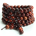 108 Winding Fashion Bracelets Natural Red Rosewood Beads Buddha Bracelets Men Women Bangle Religion Gift Jewelry