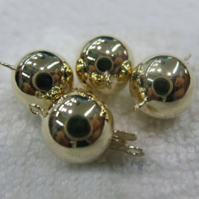 Fermoir à bijoux en forme de boule lisse en or massif jaune 8mm 14 K