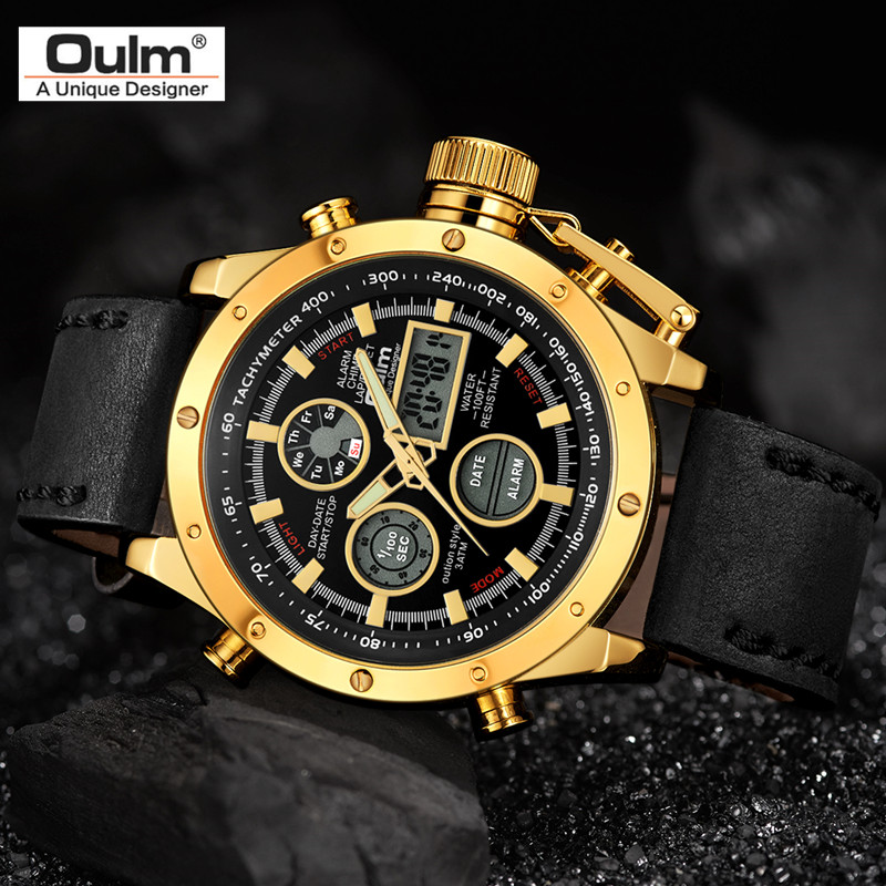 Oulm Watch Mens Watches Top Brand luxury Double Display Sport Waterpoor Leather Strap Gold Male Wristwatch Relogio Masculino oulm mens designer watches luxury watch male quartz watch 3 small dials decoration leather strap wristwatch relogio masculino
