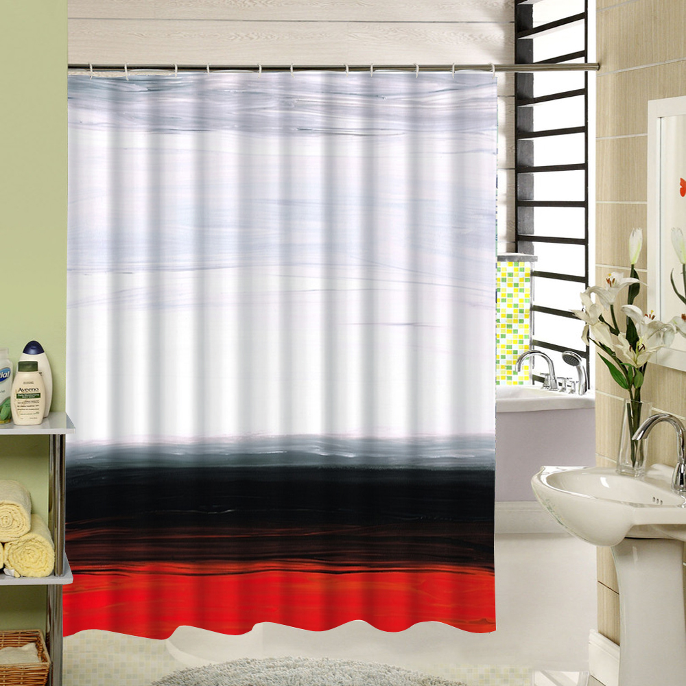 White Black Red Shower Curtain Family Home Decorative ...