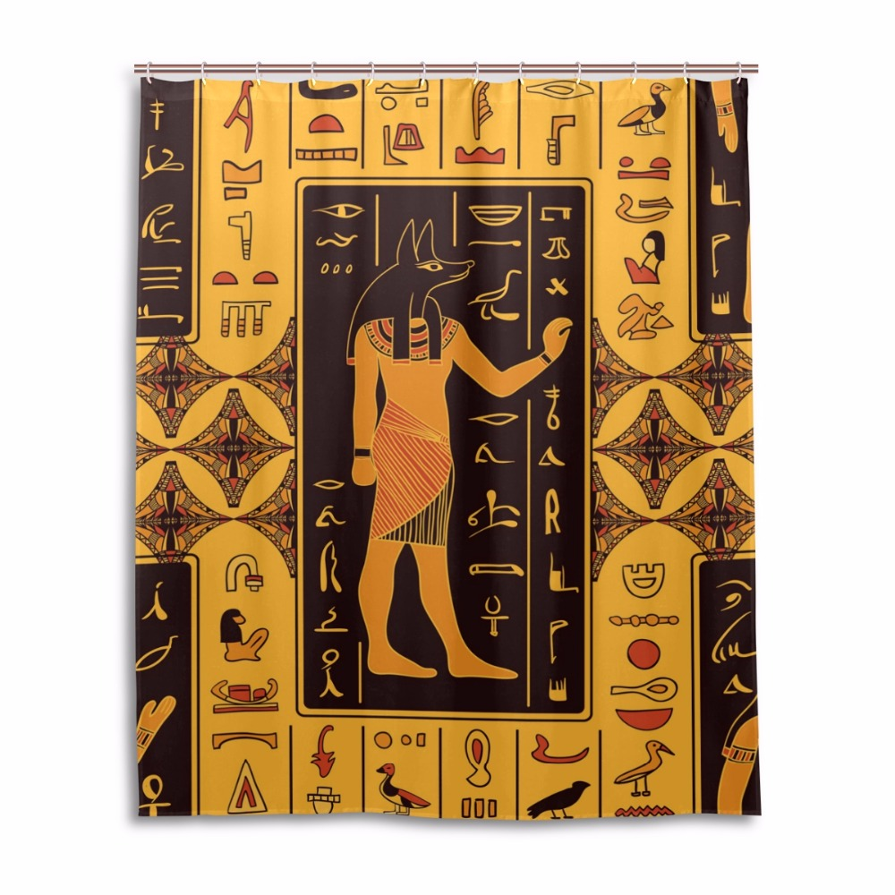 African bathroom decor - Rideaux Douche Home Decoration Shower Curtain African Bathroom Screen Egypt Waterproof Fabric Cortina De Ducha With 12 Hooks