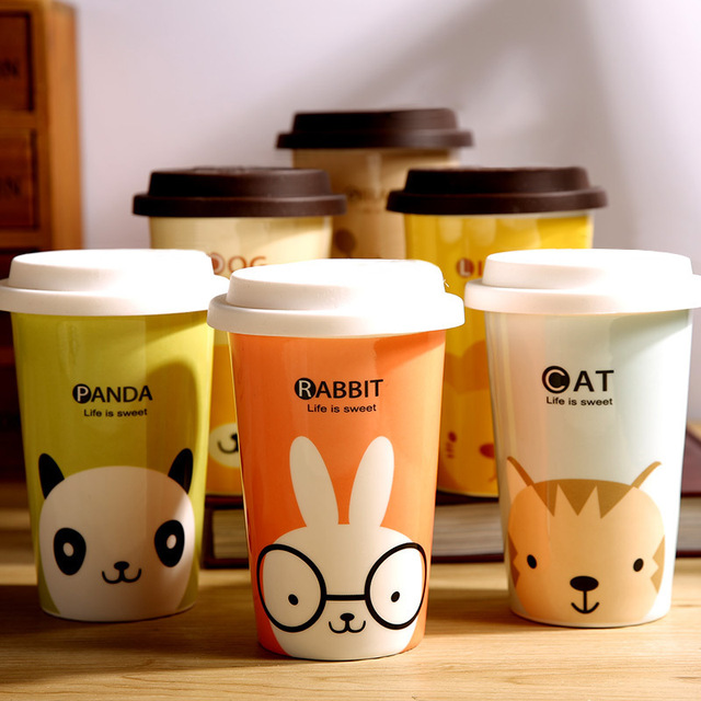 425ml real bone china funny printed coffee cup with silicon lid