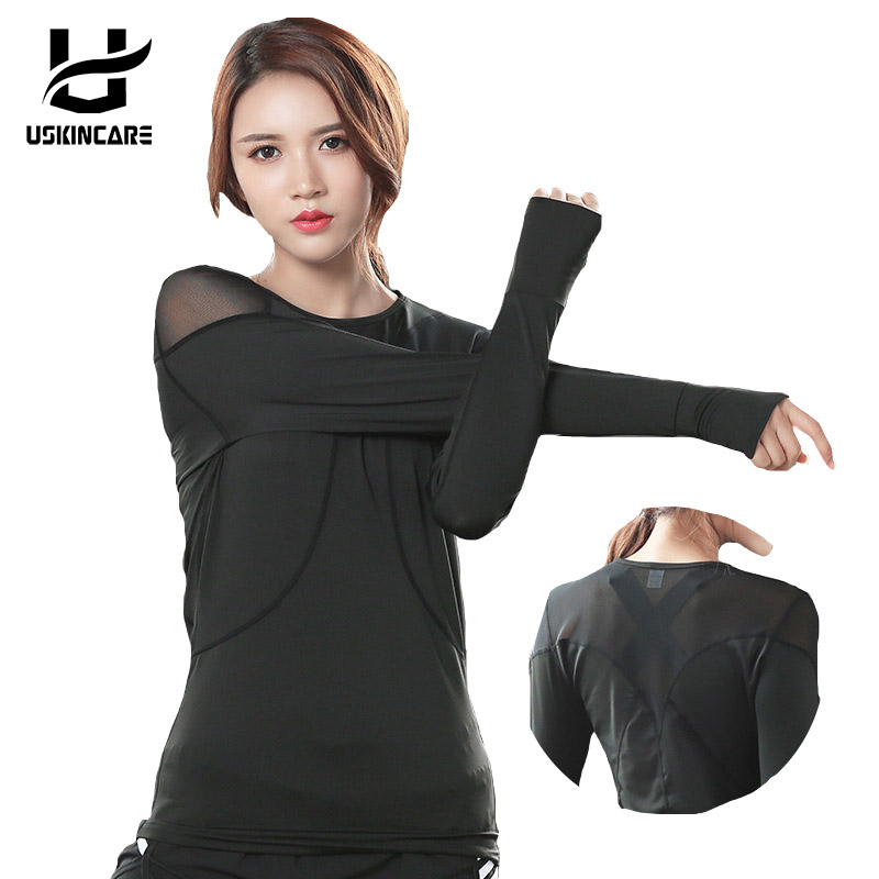 USKINCAR Yoga Shirts Top Women Long Sleeve Mesh Cover Up