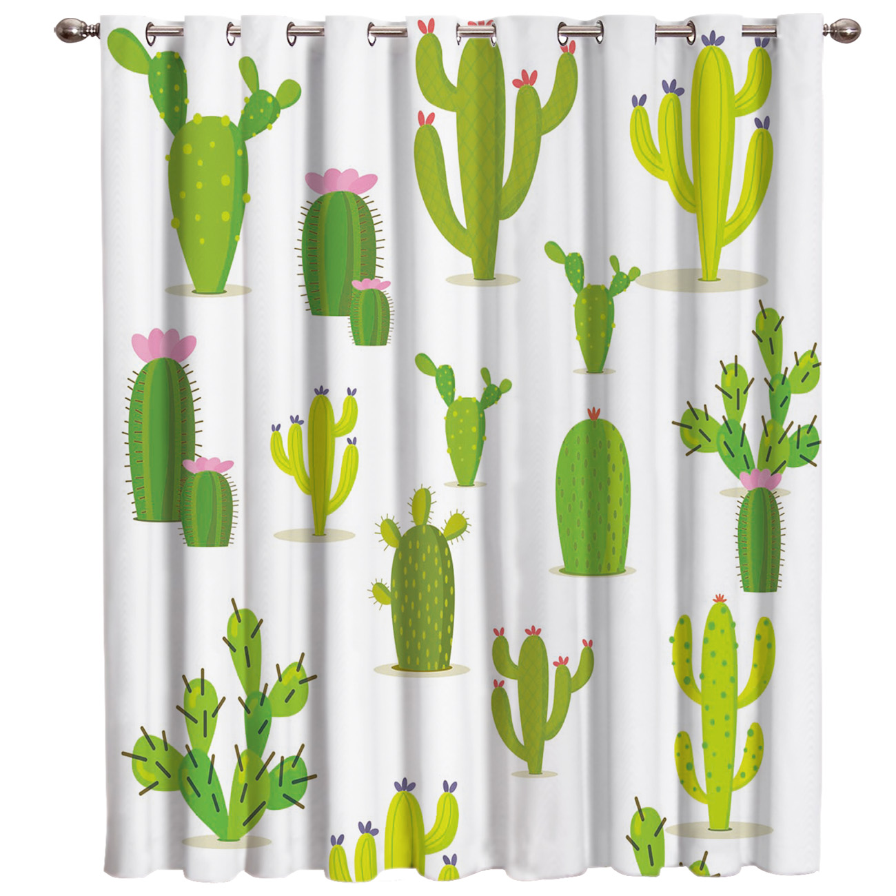 Cartoon Cactus Flowering Room Curtains Large Window Blackout Bathroom Outdoor Bedroom Indoor Decor Kids Curtain Panels