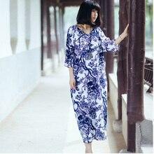 SCUWLINEN женское платье летнее винтажное платье с v-образным вырезом и рукавом три четверти свободное льняное хлопковое платье длинное пляжное платье S02