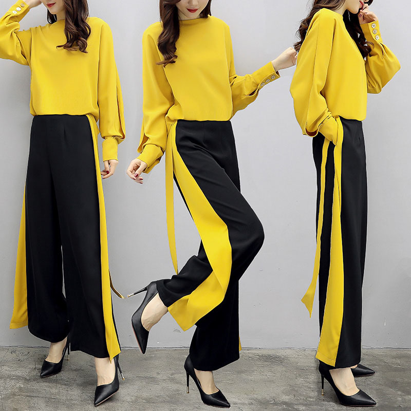 Mr nut2019 new women 39 s summer casual fashion two piece pants loose temperament wide leg tide suit in Women 39 s Sets from Women 39 s Clothing