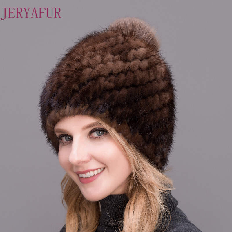 2017 Hot Style Fashion Winter Warm Women's Knitting Caps Real Mink hats 4 Colors Available Pineaple Shape Hat With Fox Pompom велосипед stels navigator 310 lady 28 2017