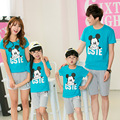 2017 summer family clothing set mickey t-shirts+ shorts matching mother daughter clothes father and son outfits family look