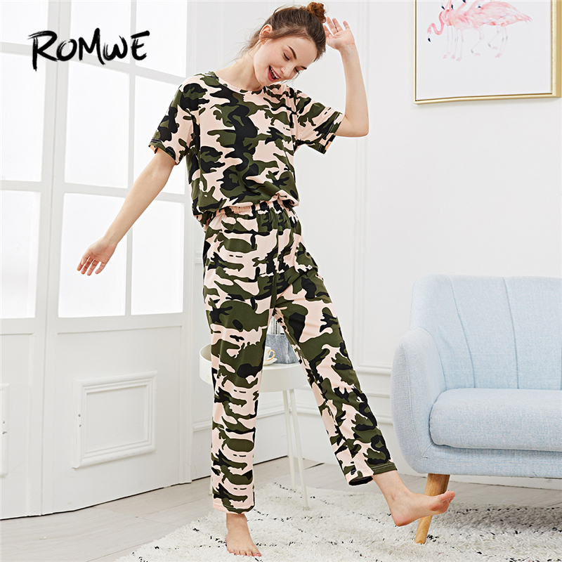 ROMWE Women   Pajamas     Sets   Camo Print Women   Sets   Short Sleeve Shirts And Pants Clothes Sleepwear Womens Casual   Pajama     Set