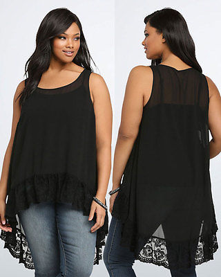 7e711018168 Women Long Tunic Tank Top Sleeveless o-neck fashion pullover lace sexy Scoop  Neck Chiffon Shirt Plus Size blouse
