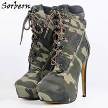 Botas de tela vaquera para Mujer, botines de tacón alto fino, con plataforma, a la moda