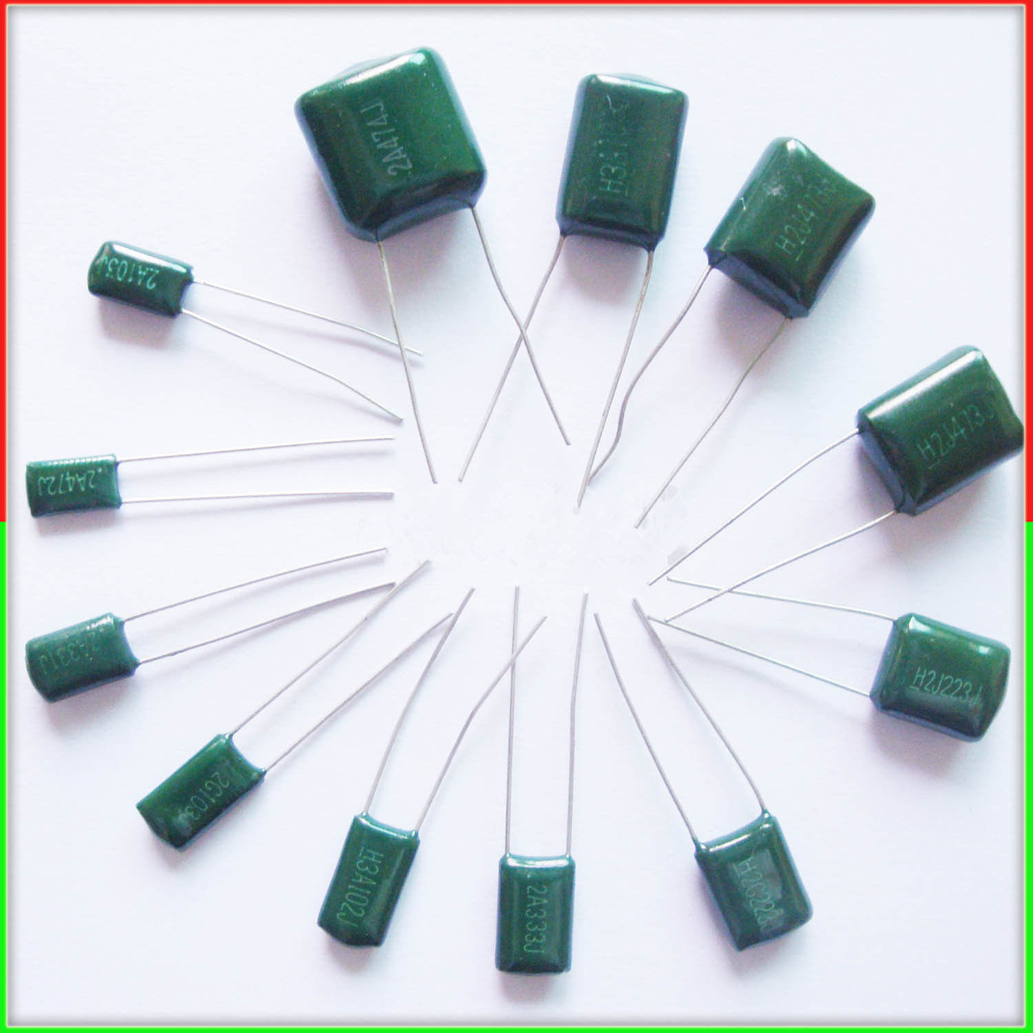 10pcs Mylar Film Capacitor 100V 2A 220pF~0.47uF 5% (2A221J~2A474J) Polyester Film Capacitor