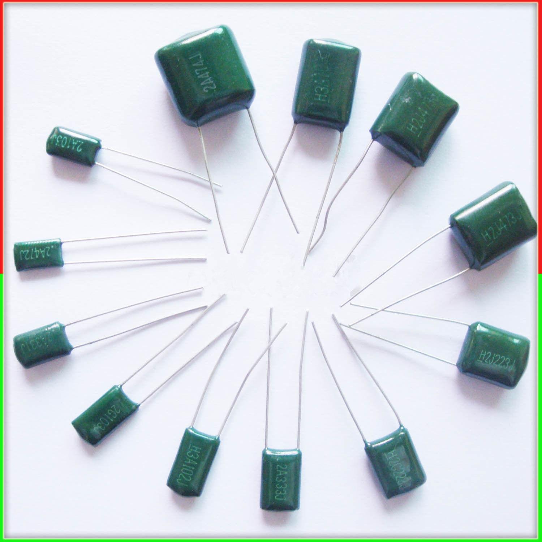 10pcs Mylar Film Capacitor 100V 2A 220pF~0.47uF 5% (2A221J~2A474J) Polyester Film Capacitor
