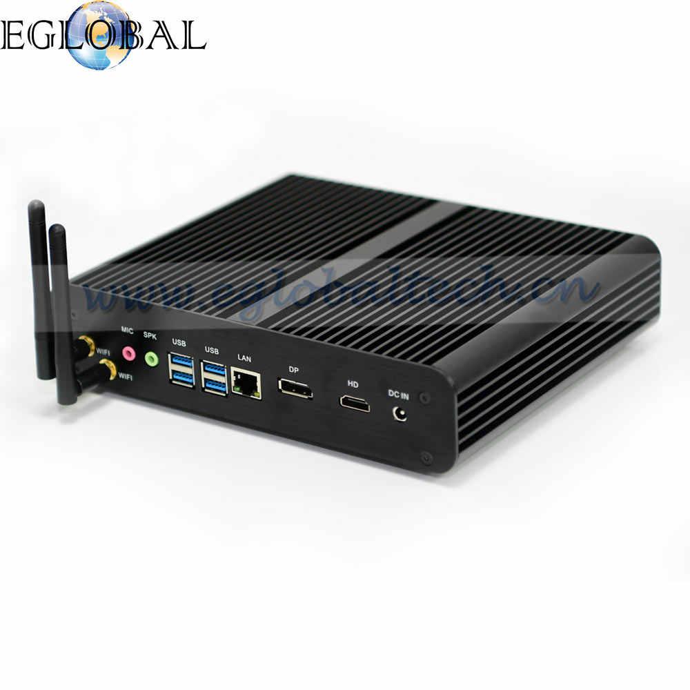Eglobal nuevo 7th generación sin ventilador Mini pc Core I7 7500U Max 3,5G Barebone Windows 10 Mini PC Nettop 4 K VGA HDMI HTPC 300 M WiFi