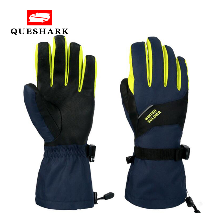 Touch Screen Winter Ski Gloves Thicken Cotton Warm Five Fingers Motorcycle Gloves Extended Wrist Waterproof Skiing Mittens