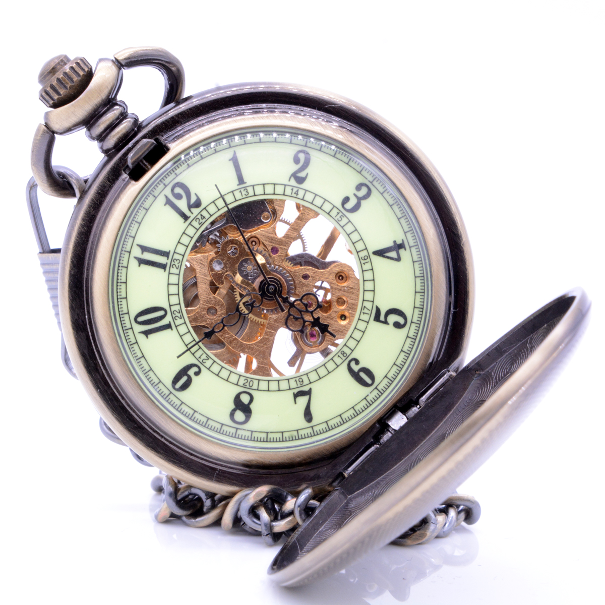 M043 Bronze Shield Noctilucent Dial Hand Wind Mechanical Pocket Watch Clamshell Skeleton Gears Pocket Watch Gift