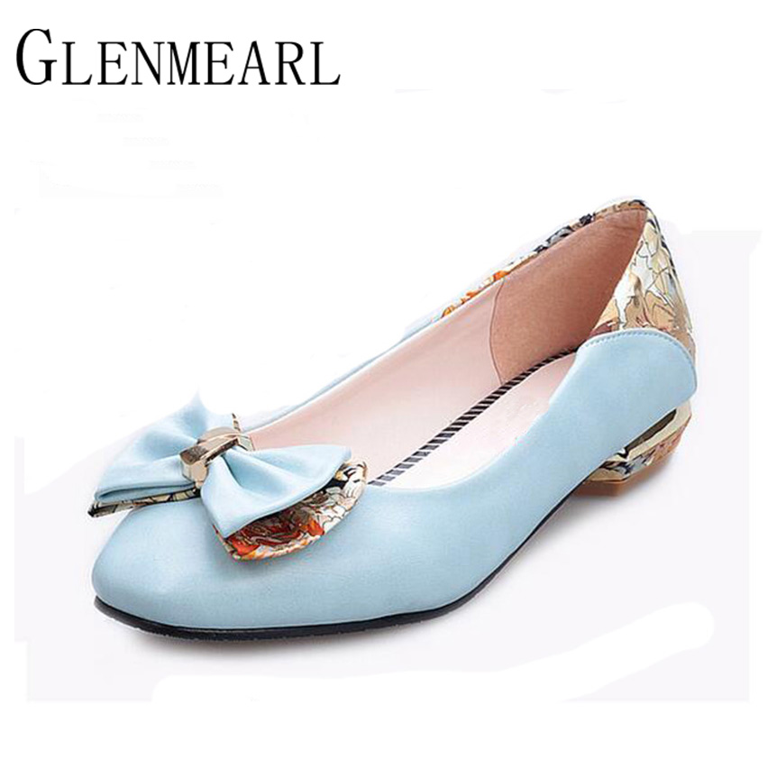 2017 Spring Summer New Flats Women Shoes Bow Butterfly Plus Size Round Sweet Casual Flats White Princess Party Shoes Free ZK35