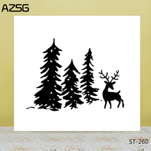AZSG Vigilant Deer Pine Tree Clear Stamps/Seal For DIY Scrapbooking/Card Making/Album Decorative Silicone Stamp Crafts