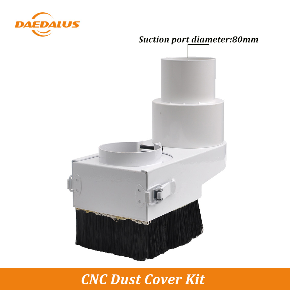 Daedalus CNC Dust Cover Brush Vacuum Cleaner 65MM - 105MM With Conversion Head 80MM For Woodworking CNC Lathe Laser Mahchine