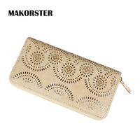 MAKORSTER Hollow Out Flower Pattern Retro Wallet Female Purse Leather Bag Womens Wallets And Purses Vintage