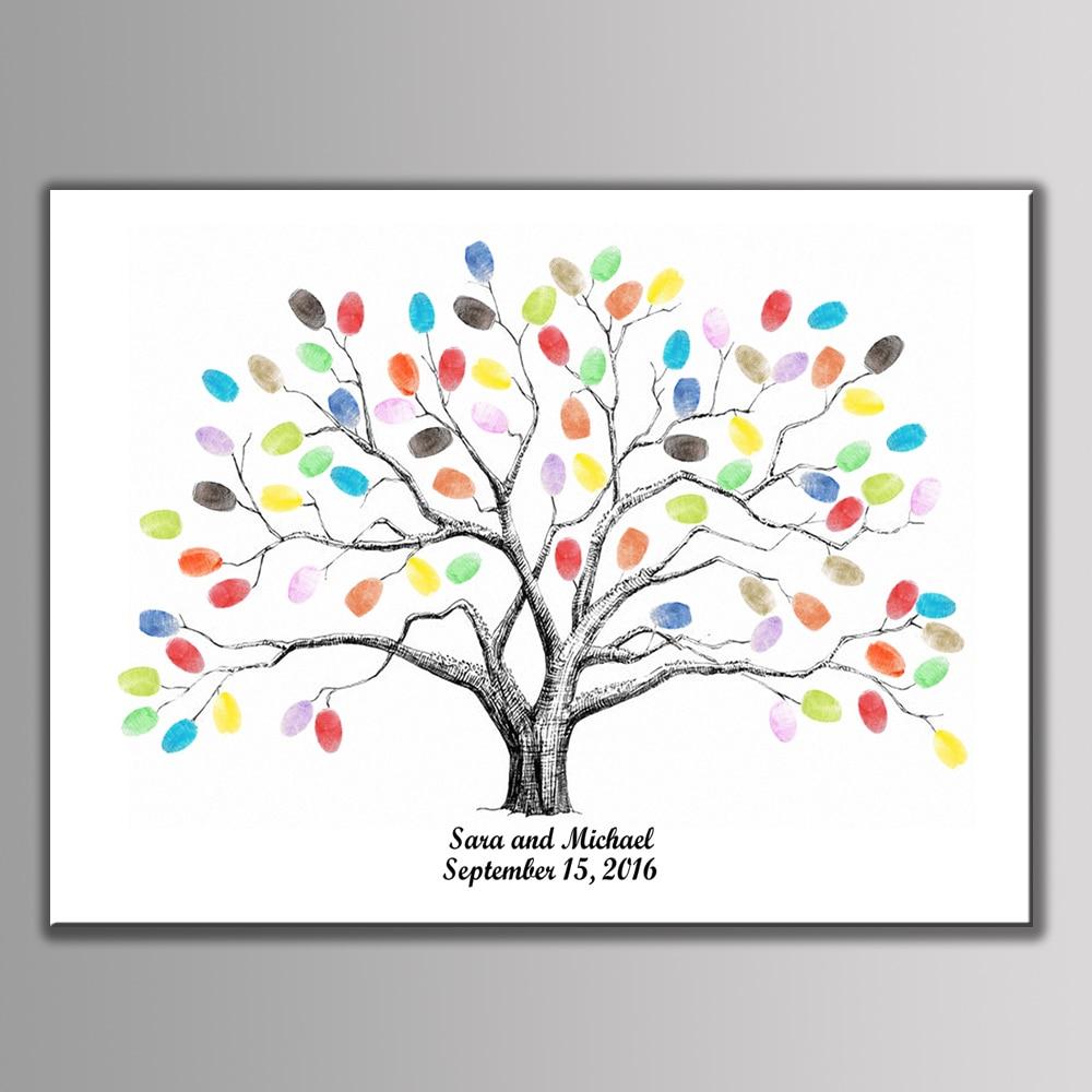 diy personalized wedding fingerprint signature canvas tree. Black Bedroom Furniture Sets. Home Design Ideas