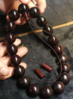 20mmx19pcs rosary beads Authentic Natural wild Lobular Red Sandalwood of India with venus Buddhist pray bead car decoration gift