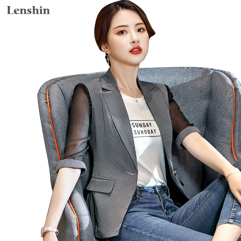 Lenshin Striped Jacket For Women Patchwork Female Casual Style Breathable Coat Half Sleeve Blazer Single Button Tops Outwear
