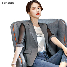 Lenshin Striped Jacket for Women Patchwork Female Casual Style Breathable Coat Half Sleeve