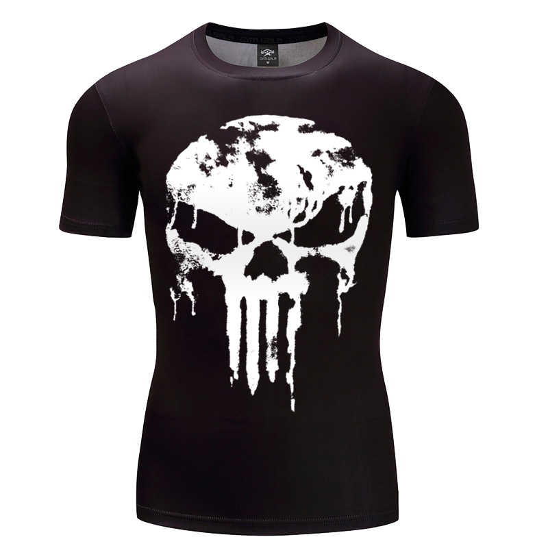2018 Newest Punisher Superhero T Shirts Compression Shirt 3D Short Sleeve T Shirt Flash Iron Man Fitness Men Crossfit Clothing