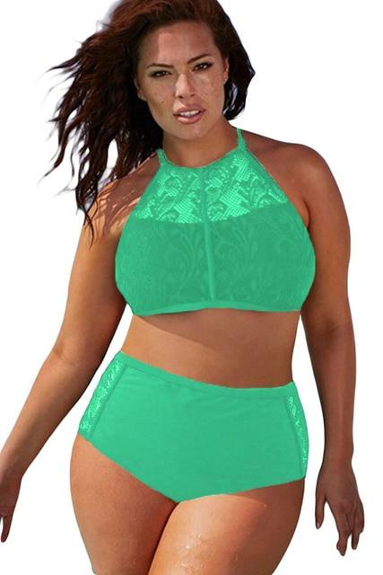 da1b8c6d3f high neck padded swimsuit Plus Size High Waist Swimsuit Halter Padded Push  Up Swimwear Bikini for