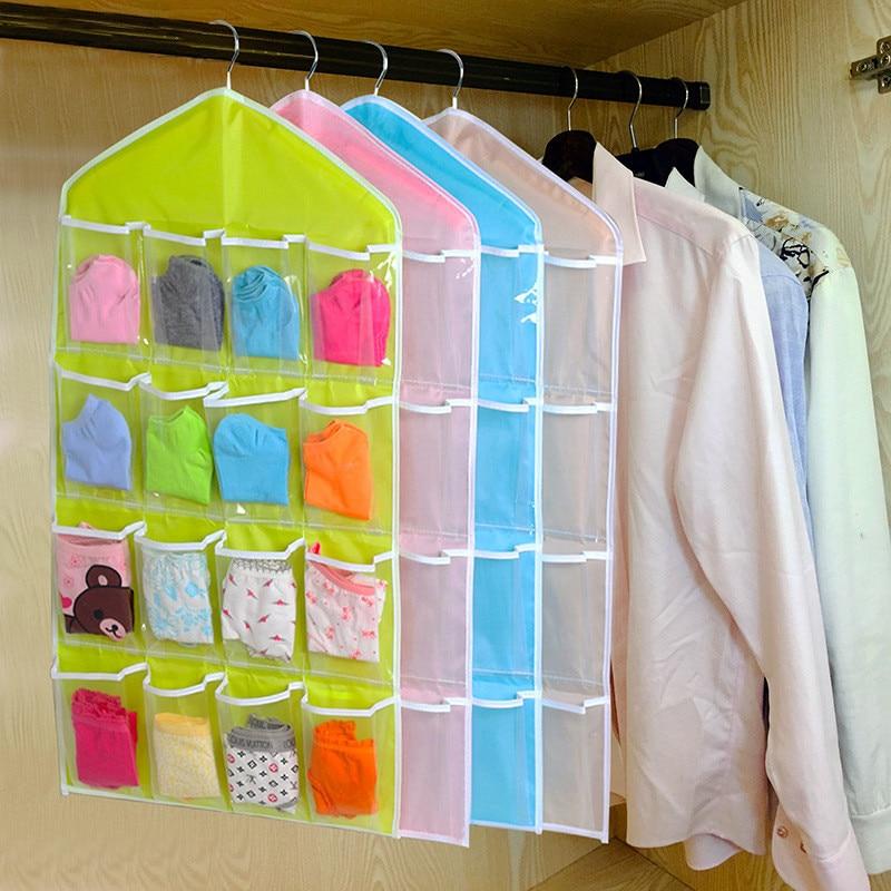 16 Pockets Clear Hanging Bag Socks Bra Underwear Rack Hanger Storage Organizer Transparent wardrobe bag #BF