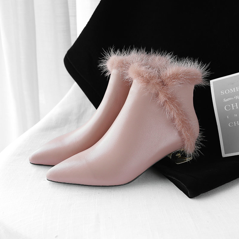 Zapatos Cortas Invierno Botas Tacón Punta Botines Negro De rosado Elegante Grueso Genuino Salu En Cuero zRnnU