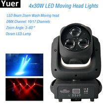 цена RGBW LED Stage Light 3x40W LED Beam Zoom Wash Moving Head Light DMX-512 Led Dj Xmas Musico Christmas Sound Active Disco Lights онлайн в 2017 году