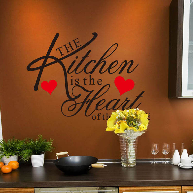 Quotes For The Kitchen: 60*45CM Wall Art Sticker Quote Wallpaper Kitchen Heart