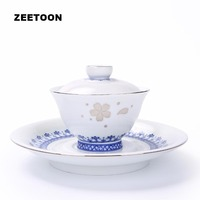 180ml Boutique Blue and White Porcelain Silver Painted Cherry Ceramic Gaiwan Master Cup Kung Fu Tea Set Teapot Bowl with Holder