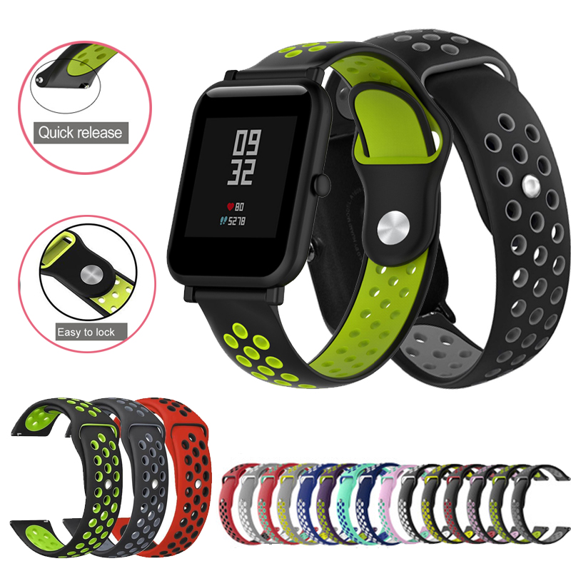 20mm 22mm Strap For Huami Amazfit Bip Band Silicone Smart Band Accessories Belt For Xiaomi Amazfit Bip Wristband Strap