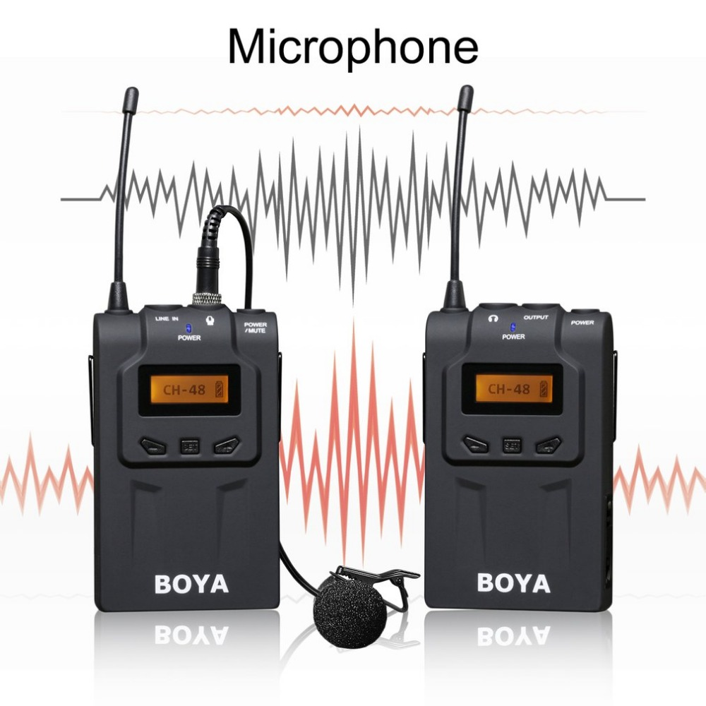 BOYA BY-WM6 100m Professional Wireless Microphone System 48 Channel Omni-directional Lavalier Microphones For DSLR Camcorders professional lapel music instrument microfone double bass microphone lapeal for shure wireless system xlr mini microphones
