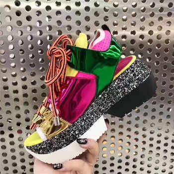 Fashion Designer Thick bottom Gladiator Sandals Women Peep toe Lace up Platform Patchwork Sport Summer Shoes Sandalias mujer