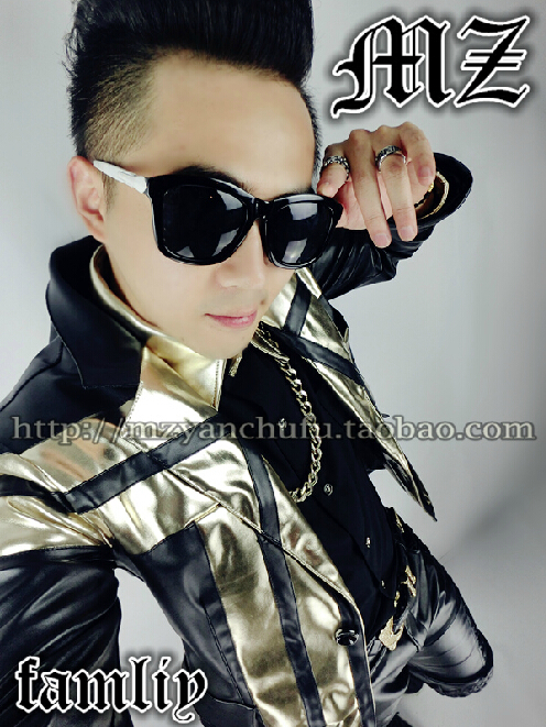 S 5XL 2018 New Men's Brand stage Fashion singer male DJ GD gold leather jacket Men black stitching costumes jackets coat