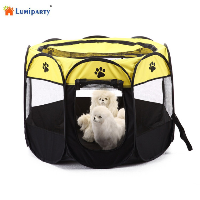 LumiParty Foldable Portable Pet Playpen Dog Cat Exercise Pen Kennel Oxford  Cloth 8 Sided Cage