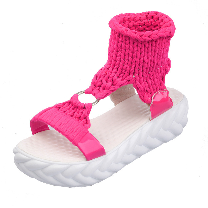 Comfortable Casual Wool Women's Summer Sandals 2019 New Arrival Knit Platform Shoes Candy Color Wedge Sandalias