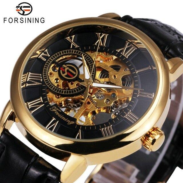 Forsining платье модные Для мужчин механические часы Скелет циферблат римские цифры в сдержанном стиле Дизайн наручные Best Бизнес подарок + коробка